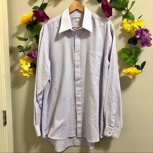 BALMAIN Mens Button Down Lilac Dress Shirt